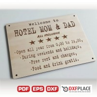 Hotel MOM DAD sign